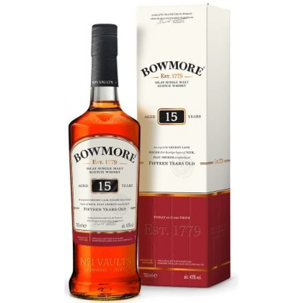 Bowmore 15 år Single Islay Malt Whisky, 43%