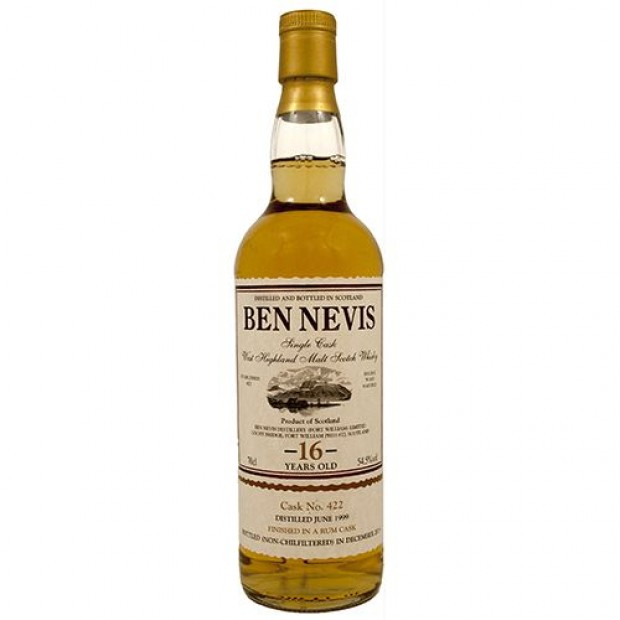 Ben Nevis 16 år Single Malt Whisky, Rum Cask Finish. 54,5%, 70 cl.