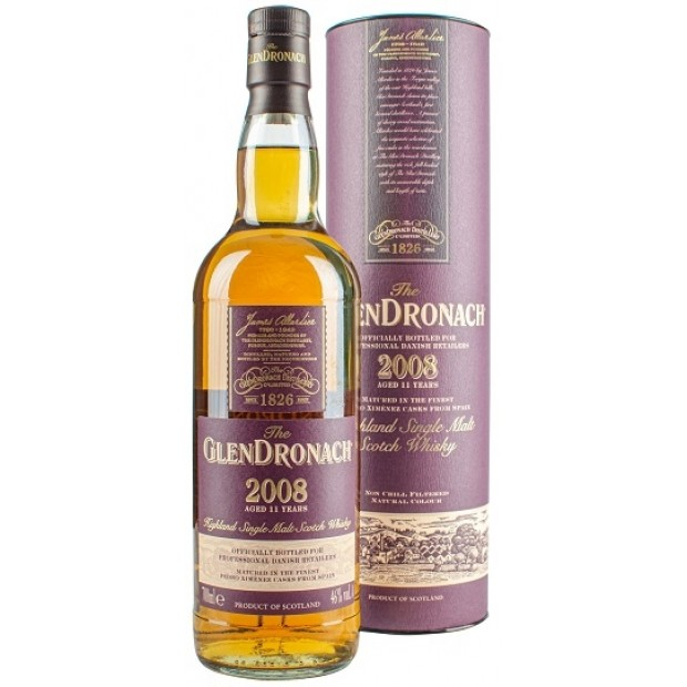 Glendronach 2008, 11 år. Bottled for Denmark. 46%
